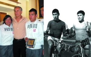 A la iizquierda Edgar Cueto, flanqueado por estudiantes. A la derecha, el extinto Froilán Corrales y Edgar Cueto (a la derecha), luego de una competencia